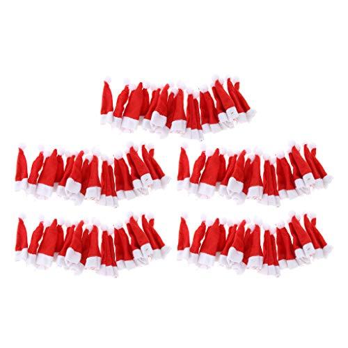 LOVIVER 100pcs Mini Weihnachtsmütze Weihnachtsmannmütze Nikolausmütze für Eier, Puppen, Flaschen