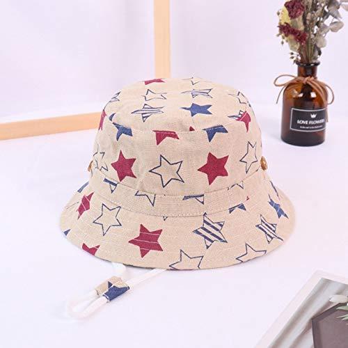 Primavera otoño Sombrero de Cubo de bebé de Dibujos Animados Finos Sombreros de Pescador de algodón niños Verano niños pequeños Gorra de Sol para niñas-Five-Pointed Star-4