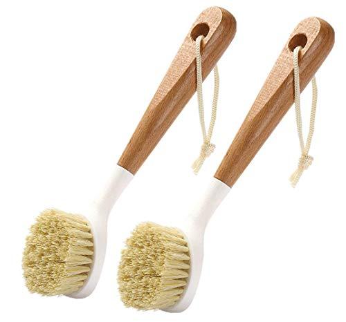 Cepillo para Platos de Madera 2 Piezas Cepillo para Lavar Platos Mango Largo Olla Cepillo con Cuerda Colgante para Lavar Platos para Ollas Sartenes Platos