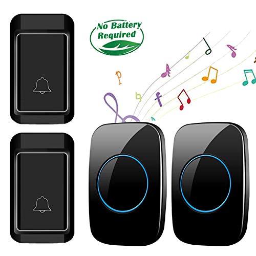 Ringdoors Wasserdichte Funkklingel Ohne Batterie, 2 Sender + 2 Empfänger, 300 M Reichweite, 38 Melodien, 4 Lautstärke Einstellbar - Schwarz