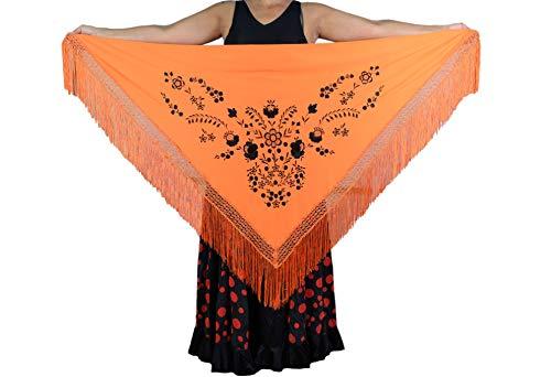 Anuka mantel, middelgroot, driehoekig, flamenco of sevillana, 175 x 75 cm, oranje