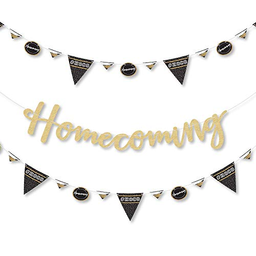 Big Dot of Happiness Hoco Dance - Homecoming Letter Banner Decoration - 36 Banner Cutouts and No-Mess Real Gold Glitter Homecoming Banner Letters