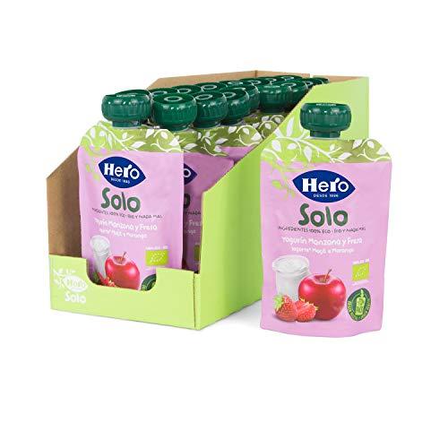 Hero Solo - Bolsita Eco de Yogur, Manzana y Fresa para Bebés a Partir de los 12 Meses - Pack de 18 x 100 g