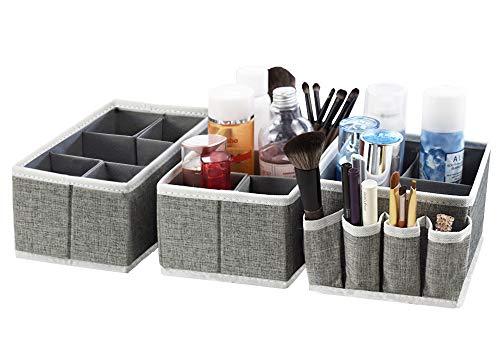 Drawer Organizer Bins Organizer, Adjustable Multifunction Cosmetic Storage Bins for Makeup Brushes,Bathroom Countertop or Dresser,Set of 3(Grey)