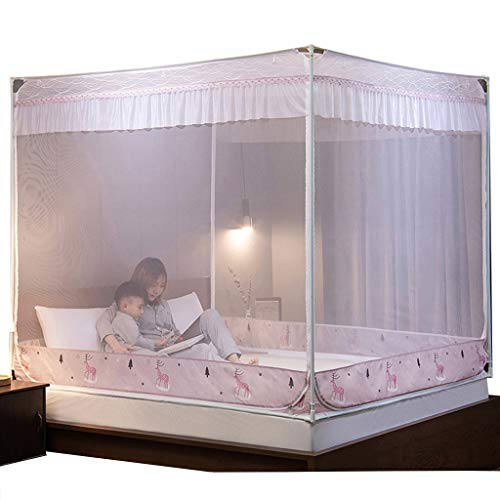 Best Prices! Home Mosquito Nets New 4-Angle Bed Gauze Tent for Large/King Size Bed Bed Canopy Pink (...