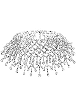 Nicute Festival Rhinestone Choker Necklace Full Crystal Silver Necklaces Chain Summer Club Neck Jewelry Accessories for Women and Girls