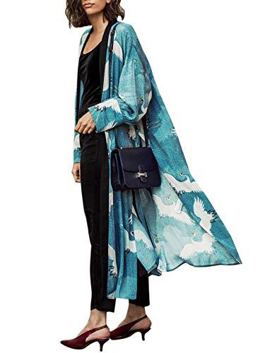 shermie Womens Kimono with Crane Print Long Kimono Beach Cardigans for Women