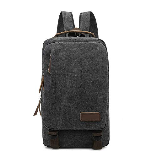 Hombro de la Lona del Bolso de los Hombres 2020 Nuevo Temperamento Grande de Ocio Mochila de Viaje Schoolbag,Negro,23x32x8cm / 9x12.5x3.1inches