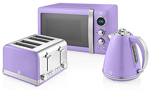 Swan Retro Jug Kettle, 4 Slice Toaster and Microwave Set in Purple, Classic Design, Chrome Details, Energy Efficient, STRP2061PURN