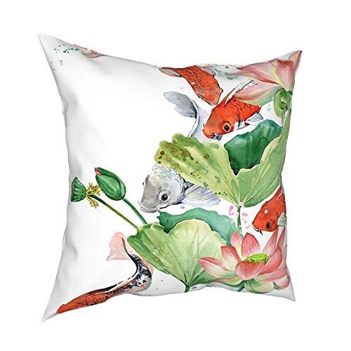 Funda de almohada decorativa cuadrada de 45,7 x 45,7 cm, para sofá, cama, coche, decoración del hogar, peces coloridos, acuarela, carpas Koi y flor de loto, rosa animal