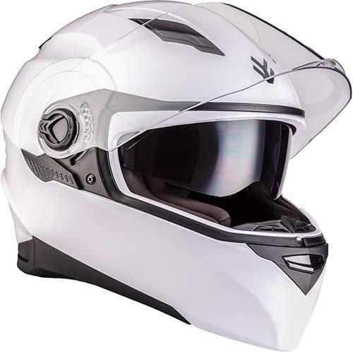 "ARMOR HELMETS® AF-77 ""Shiny White"" · Integral-Helm · Full-Face Motorrad-Helm Roller-Helm Scooter-Helm Cruiser Sturz-Helm Sport · ECE 22.05 Sonnenvisier Schnellverschluss Tasche S (55-56cm)"