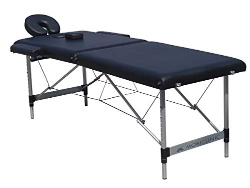 Mobiclinic, Light, Camilla Fisioterapia Plegable, Cama de masaje, Reposacabezas, Aluminio y polipiel, 186x60 cm, Portátil, Negro