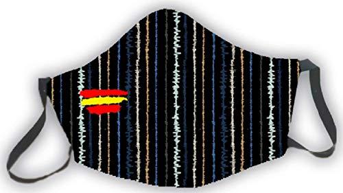 Mascarilla reutilizable negra bandera de España rayas colores estampado elegante original hombre mujer unisex