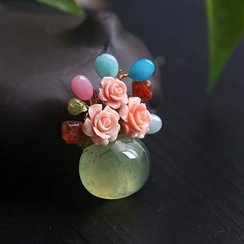 THTHT broche hanger met twee vrouwelijke accessoires te gebruiken natuurlijk grape steen bloempot mode broche licht retro edel en prachtig creatief geschenk