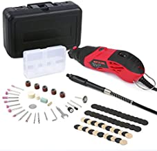 Meterk Rotary Tool Kit, 170W, 8,000 to 35,000 RPM,6-Speed with Flex shaft, 85Pcs&Carrying Case, Electric Grinder, Engraver, Sander, and Polisher for Milling Sanding Sharpening Carving,etc