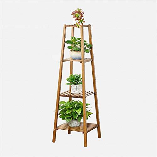 Étagère à fleurs en bambou Étagère à fleurs Étagère à fleurs pour balcon intérieur, 4 étages
