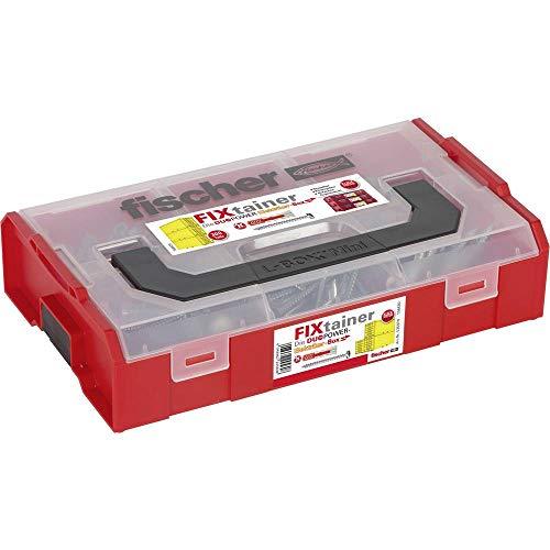 fischer FIXtainer DUOPOWER Elektriker-Box, Dübelbox mit 220 Dübeln & passenden Schrauben (200 Stk. 6x30, 20 Stk. 8x40), Universaldübel, praktisches Dübelset, Werkzeugkiste mit Tragegriff & Klicksystem