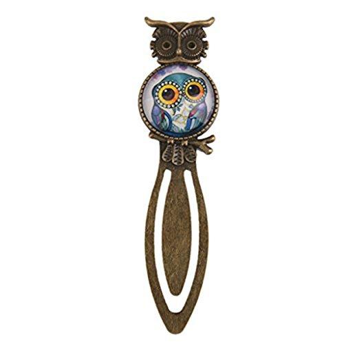 UEETEK Metal Night Owl Clip Lesezeichen Marker Lesung Geschenk mit Kristallglas