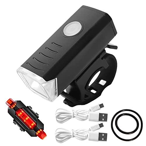 USB Ricaricabile MTB Bike LED Fanale Posteriore Set Impermeabile Mountain Bicicletta Luci Anteriori Posteriori Lampada Notte Equitazione Sicurezza Avvertimento Accessori Ciclismo?+Fanale Posteriore