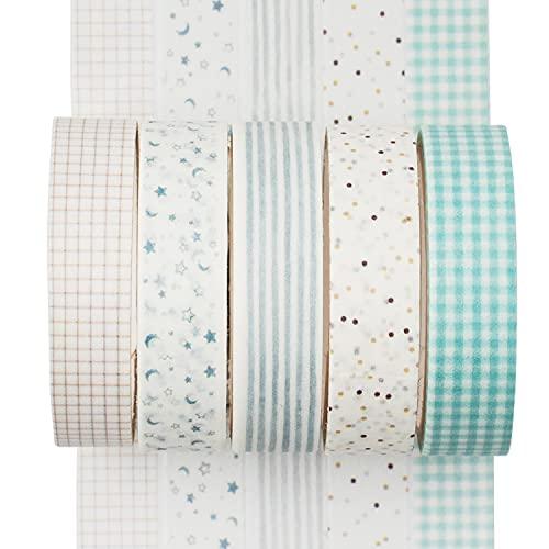 YUBX Flaco Washi Tape Set cinta adhesiva decorativa Washi Glitter Adhesivo 10MM De...