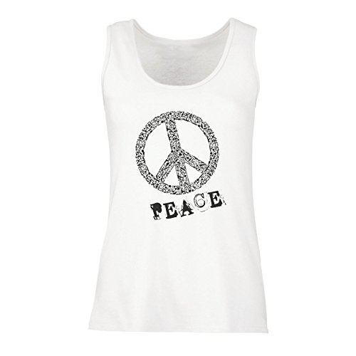 lepni.me Vrouwen Tank Top Vredessymbool jaren '60 '70 Hippy Hippie Teken Zomer Festival