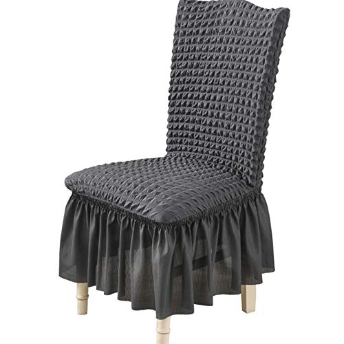 YAYANG Chair Cover 1/2/4/6 PCS Seersucker Stoff Stuhl Cover Big ELASTRITY Waschbare Stuhlabdeckungen für Restaurant Hotel Bankett Party Casual (Color : Grey, Specification : 4 Pieces)