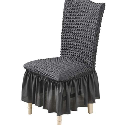 YAYANG Chair Cover 1/2/4/6 PCS Seersucker Stoff Stuhl Cover Big ELASTRITY Waschbare Stuhlabdeckungen für Restaurant Hotel Bankett Party Casual (Color : Grey, Specification : 4 Pieces)