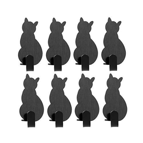 appendiabiti gatto TOPBATHY Ganci appiccicosi a Forma di Gatto Ganci appesi a Parete in Acciaio Inox Adesivi Appendiabiti Decorazione