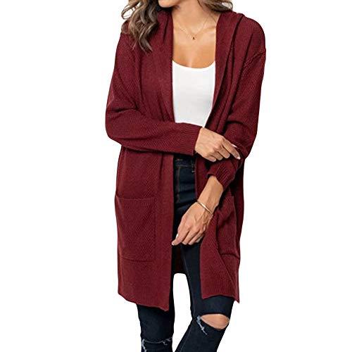 iHENGH Damen Kardigan Top,Ladies Fashion Lange ÄRmel Strickjacke Solid Pocket Cardigan Coat Tops Sweater Gestrickte Kapuzenmantel Outwear Jacke Mantel (EU-42/CN-M,Weinrot)