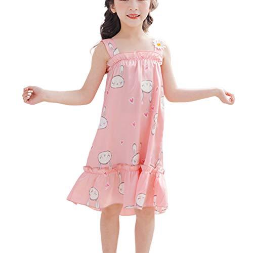 Mädchen Kurzarm Kinder Mädchen Erdbeere Blumen Eis Seide Ärmellos Träger Nachthemd Pyjama Rosa Kaninchen 110 cm