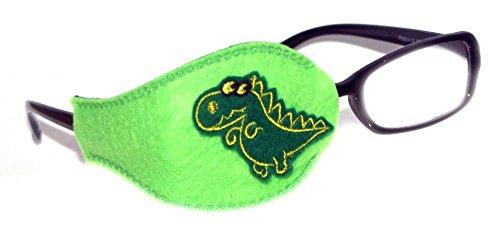 SuperPatchDesigns Kinder und Erwachsene orthoptic Eye Patch für Amblyopie Lazy Eye okklusion Therapie Behandlung Design # 12Dino auf Lime, Grün