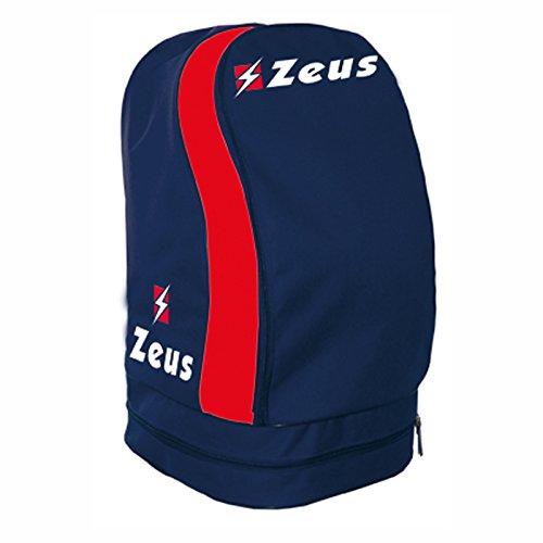 Zeus Zaino ULYSSE Borsa A Spalla Calcio Calcetto Basket Piscina Tennis Sport 33 X 30 X 52 cm (Blu-Rosso)