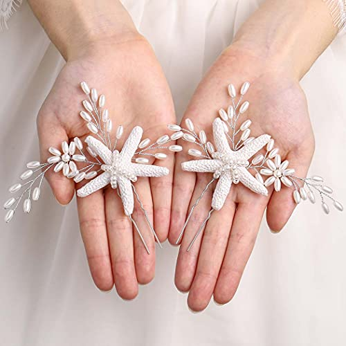Brishow Bride Starfish Wedding Hair Pins Clips Silver Pearl Bridal Hair Piece Headpiece Accessory for Women and Girls (2 PCS) (Starfish hair pins)