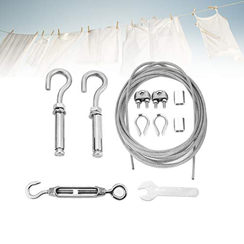 Outdoor Clothesline Kit, Waterproof Anti-sag Clothes Rope Line, Heavy Duty Clothesline Wire, with Turnbuckle and Hooks, As Clothesline, Curtain Wire, Outdoor Activity Rope, etc.(8M)