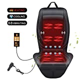 SEG Direct 3-in-1 Car Smart Seat Cushion, Cooling for Summer, Heating for Winter, Vibrating Massage for Driving, Universal 12V Output Voltage Adapter with 5 Adjustable Levels of Cooling and Heating