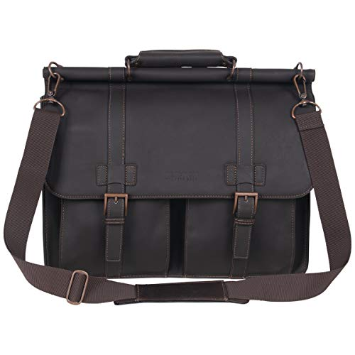 Kenneth Cole Reaction Colombian Leather Dual Compartment Flapover 15' Laptop Dowelrod Business Portfolio, Brown