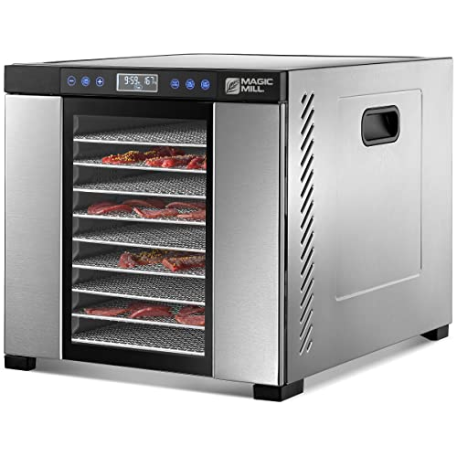 Magic Mill Commercial Food Dehydrator Machine   11 Stainless Steel Trays   Adjustable Timer and Temperature Control   Jerky, Herb, Meat, Beef, Fruits and Vegetables Dryer   Safety Over Heat Protection