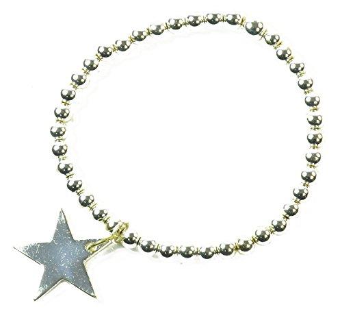 Standout argentato Funky Fashion da donna in rilievo braccialetto con stella grande fascino (ZX1) elastico.