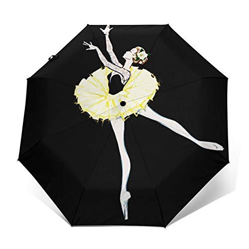 Regenschirm Taschenschirm Kompakter Falt-Regenschirm, Winddichter, Auf-Zu-Automatik, Verstärktes Dach, Ergonomischer Griff, Schirm-Tasche, Kostenlose Ballerina Balletttänzerin 10