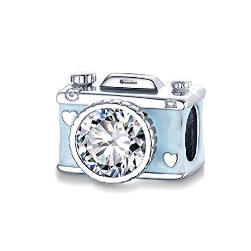 Kamera-Charm für Pandora-Armband, 925er Sterlingsilber, blaue und schwarze Emaille, Kristallperle für Armband und Halskette, DIY-Schmuck
