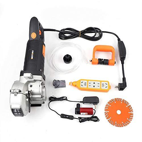 Fresadora eléctrica de 4,8 kW, fresadora de pared, 360°, ranura de pared con 5 hojas de sierra y bomba de agua, para cortar mármol, granito, hormigón, profundidad de corte: 0-42 mm