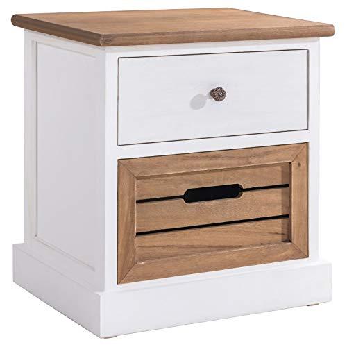CARO-Möbel Nachtkommode CULTURA im eleganten Vintage Look Nachtschrank Nachttisch, 1 Schublade, 1 Korb