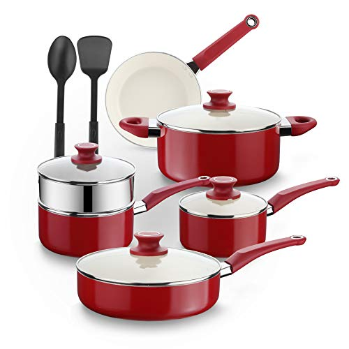 Amazon Brand – Eono Pots and Pans Set -White Ceramic Non Stick Cookware Set Aluminium- Soft Touch Handle -Dishwasher Safe -Pan Set with Steamer Kitchen Utensils Glass Lids- 12-Piece,Red