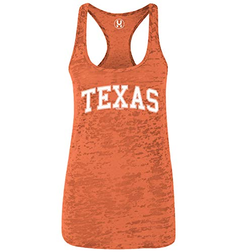 Texas - State School University Sports Ladies Racerback Tank Top (Orange, Small)
