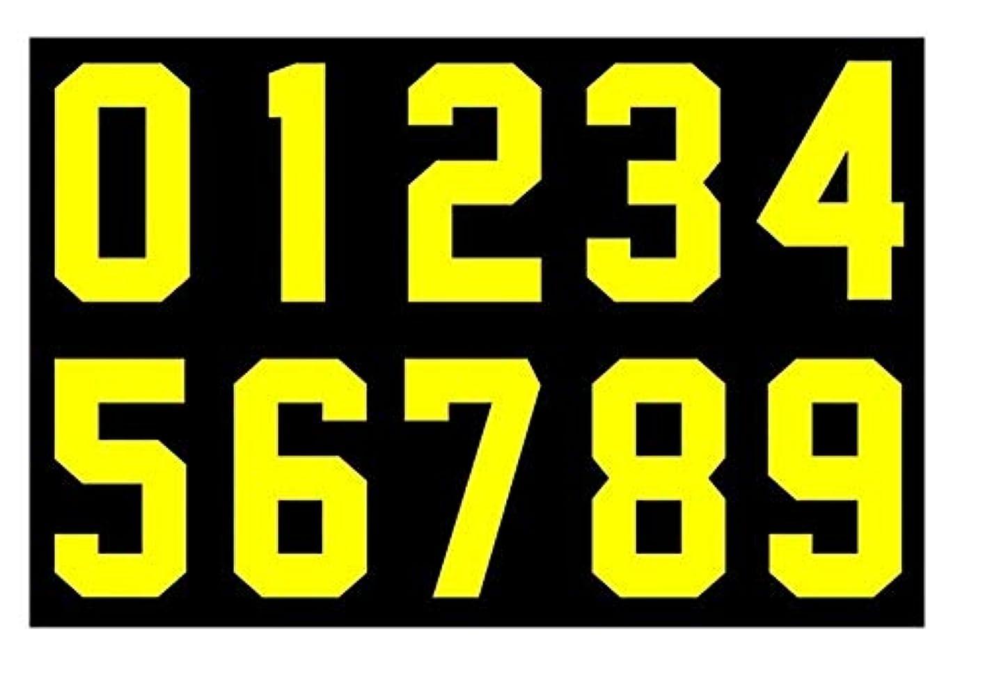 Numbers Kit(0-9),3 Inch Tall for Sports T-Shirt Jersey Football Baseball,Iron On, Heat Transfer, Team,t-Shirt(0-9) (Yellow)