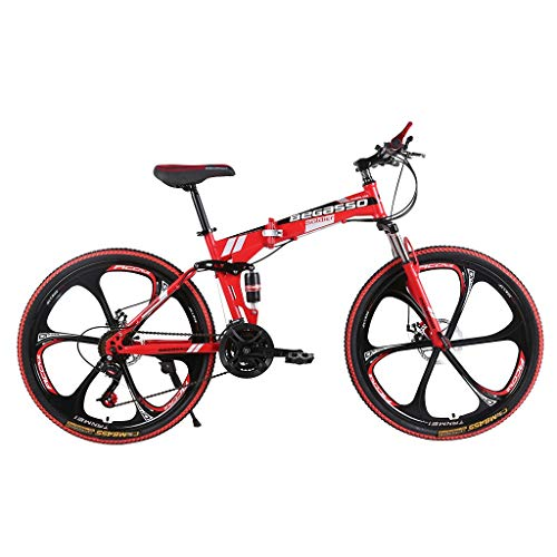 Zlolia Mountain Bike 26in Folding Mountain Bike with 21 Speed Dual Disc Brakes Full Suspension Non-Slip Suspension MTB Bikes Bicycles for Adult Teens