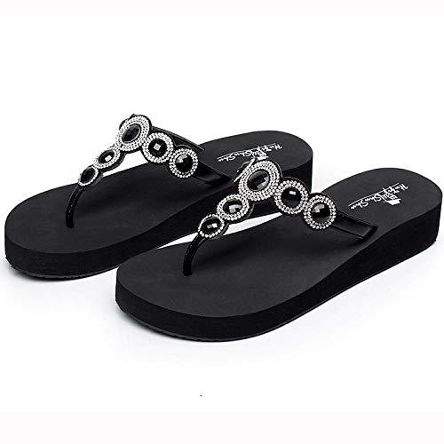 Zapatillas Casa Chanclas Sandalias Chanclas para Mujer Sandalias De Playa hasta El Talón Zapatillas De Mujer Sandalias Planas para Mujer-Negro-3.5Cm_9.5