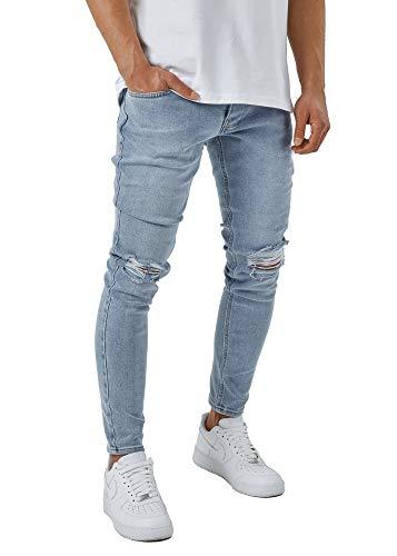 Burocs Herren Destroyed Jeans Skinny Fit Stretch Dunkelblau Blau Schwarz BR1512, Hosengröße:W32 L32, Farbe:Hellblau