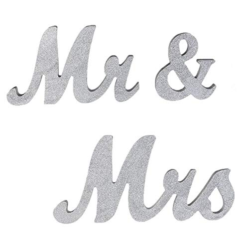 senover Mr and Mrs Sign Wedding Sweetheart Table Decorations,Mr and Mrs Letters Decorative Letters for Wedding Photo Props Party Banner Decoration?Wedding Shower Gift (Silver Glitter)
