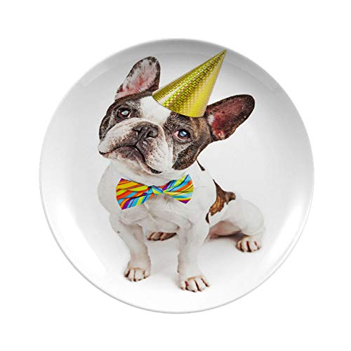 Creative Round Dinner Plates,Cute French Bulldog Dressed For Birthday,dinner Plates Set Plate For Home And Kitchen, Dinner Dishes,7 Inch